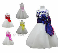 New Girls Wedding Bridesmaid Dress Party Flower Pink Formal Size Age 2-12 Years