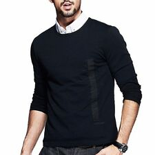 High Quality Mens Basic Tee Shirt Round Neck Long Sleeve Fitted T-shirt  Black
