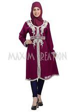 DUBAI TAKSHITA KAFTAN GEORGETTE HAND EMBROIDERY JILBAB ARABIAN DRESS 5811