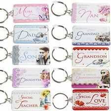 Sentiments family key ring keyring with words Mother's / Father's day / Birthday