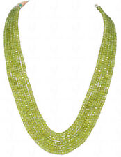 5 Rows of Peridot Gemstone Round Faceted Bead Necklace-NS1160