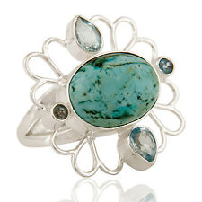 Natural Turquoise Blue Topaz Gemstone Ring Solid 925 Sterling Silver Jewelry