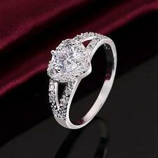 Lady Wedding Crystal Silver Plated Jewelry Heart Ring