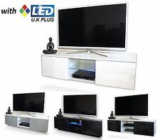 GLOSS WALL MOUNTED/ FLOOR TV CABINET TV STAND TV UNIT LOWBOARD LED with UK PLUG