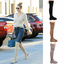 LADIES WOMENS THIGH HIGH BOOTS STRETCH FLAT CASUAL FORMAL BOOTS FASHION SHOES