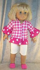 Doll Clothes fit American Girl 18 inch Summer Leggings Set Pink & White Dots New