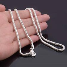 Women/Men Punk Silver Plated 3mm Necklace Snake Chain