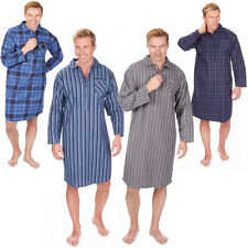 Mens Flannel Check Or Stripe Soft Cotton Nightshirt Pyjama PJ Lounge Top