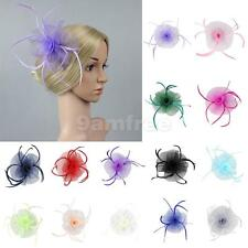 Flower Feather Mesh Fascinator Hair Clip Wedding Lady Tea Party Church Hat