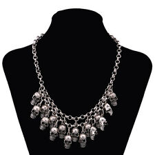 Fashion Unisex's Men Stainless Steel Skull Heads Chain Necklace Pendant Jewelry