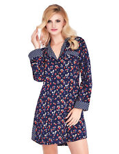 Mio Lounge Trudy Blue Floral Dotty Brushed Cotton Nightshirt ML16C5NS