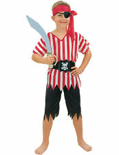Child Striped Pirate Boy Fancy Dress Outfit Kids Book Day Week Costume