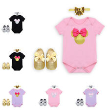 3pcs Minnie Mouse Costume Baby Girl Romper Bow Headband Crib Shoes Outfits Sets
