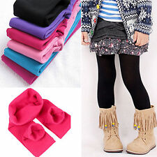 Kids Girls Winter Warm Thick Fleece Leggings Lined Thermal Cotton Trousers Pants