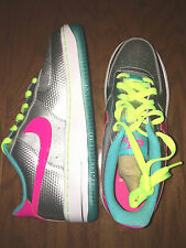 Girls Nike AIR FORCE 1 GS 314219 011 Metallic Silver Hyper Pink Shoes Sneakers