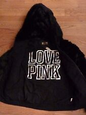 "VICTORIAS SECRET PINK FAUX FUR ""LOVE PINK"" ZIP HOODIE NWT"