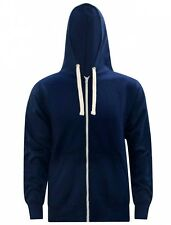 Mens Plain Zip Up Hooded Sweatshirt Workwear Winter Hoodie Navy XXXL Plus Size