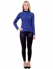 Womens Striped Long Sleeve Turtle Polo High Neck Stretchy T-Shirt Top Jumper S/M