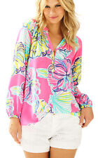 New Lilly Pulitzer ELSA Silk TOP Blouse Kir Royal Swept By The Tides Pink S