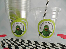 Set of 24- Personalized Ghostbuster Party Cups with Lids and Straws- 12 or 16oz