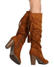 New Women Breckelles Hilary-72 Faux Suede Knee High Tasseled Chunky Heel Boot