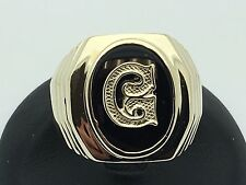 New 14K Yellow Gold Men's Oval Black Onyx Ring with Initial A-Z Ring(Sizes 7-13)