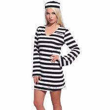 Adults Prisoner Convict Ladies Fancy Dress Costume Hen Night Outfit