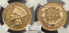 1874 Indian Princess 3 Dollars NGC AU-55