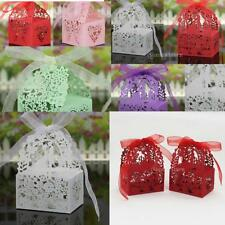 50PCS Wedding Sweets Lace Laser Butterfly Cut Wedding Favor Candy Gift Boxes