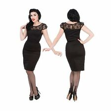 Hearts Roses Black Lace Pencil Wiggle Dress Rockabilly Vintage PinUp H&R 8-18