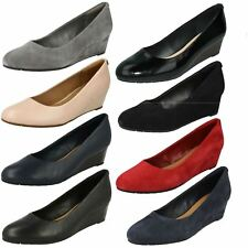 Ladies Clarks Slip on Wedge Shoes Vendra Bloom
