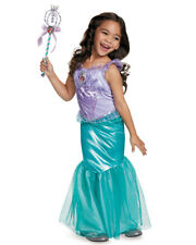 Child's Girls Disney Deluxe Ariel The Little Mermaid Ball Gown Dress Costume