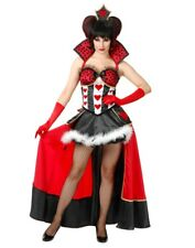 Womens Sexy Alice In Wonderland Red Queen Costume Dress With Overskirt