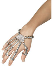 Adults Gothic Grim Reaper Silver Skeleton Hand Braclet Costume Accessory