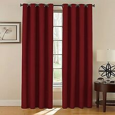 2 Panel Blackout Thermal Curtains Solid Lined Grommet Window Drape RED BURGUNDY