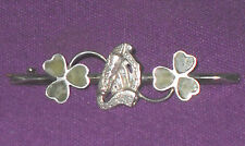 VICTORIAN 1900 STERLING SILVER HARP AND SHAMROCK SWEETHEART BROOCH ANTIQUE