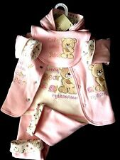 BABY GIRLS TEDDY BEAR 4 PCS CUTE PINK PRAM SUIT SET 0-6 M JUST TOO CUTE OUTFIT