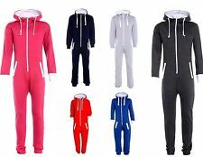 KIDS BOYS GIRLS PLAIN HOODED ONEZIE ALL IN ONE JUMPSUIT Wanzie PLAYSUIT 7-13 YRS