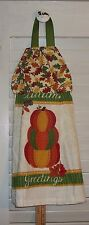 Autumn Greetings Stacked Pumpkins Fall Leaves Acorns Hanging Kitchen Towel HCF&D