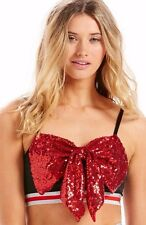 PETER ALEXANDER PJS Womens Black Red SEQUIN BOW Bralet Crop Top Sz S/M/L BNWT PJ