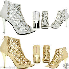 New AGRA Silver and Gold  Mesh Peep Toe Caged Diamante High Heel Ankle Boots