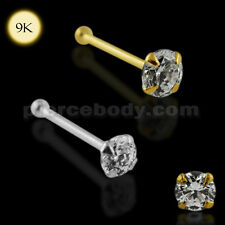22G 6MM 4 Claw Set 9K Solid Gold Ball End Jeweled Nose Pin Body Jewelry W/ CZ HQ