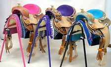 "10"" Filigree Show Saddle Western Youth Headstall Breast Collar Pink Purple Blue"