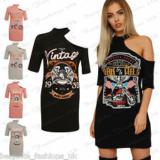 New Ladies One Shoulder Print Slogan T-shirt Dress Over Sized Casual Choker Neck