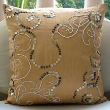 Beige Mother Of Pearls 50x50 cm Silk Cushion Covers - My Pearl Treasure