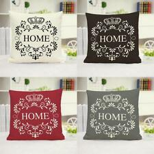 Letter HOME Square Throw Pillow Case Cotton Linen Cushion Cover Sofa Bed Décor