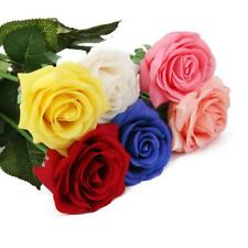 Artificial Silk Wedding Flower Latex Rose Stem Real Touch Roses Flowers 6 Colors