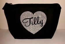 PERSONALISED NAME SILVER GLITTER HEART MAKE UP WASH BAG TRAVEL BAG GIFT