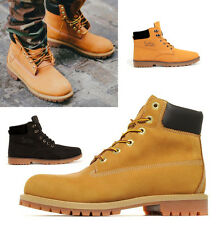 MENS LEATHER DESERT BOOTS BOYS SUEDE ANKLE LACE HIKING BIKER RIDING SHOES SIZE