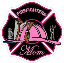 Firefighters Mom Pink Maltese Cross Reflective Decal Sticker Rescue Paramedic